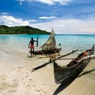 fishingboats, pirogues on the beach of Nosy Be Island, Madagascar